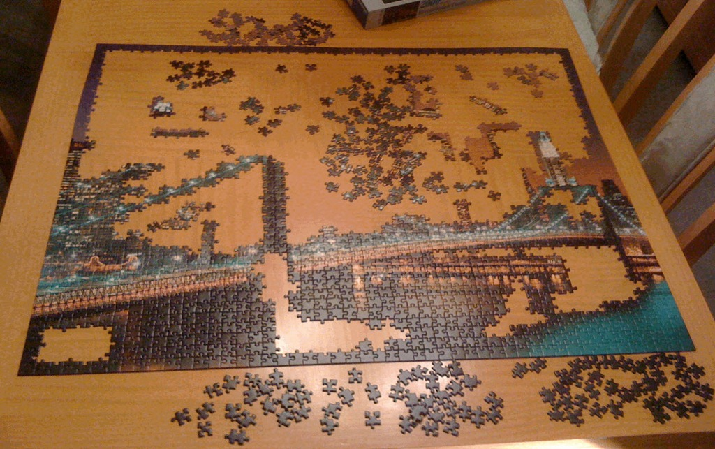 hallelujah we re done with the 2000 piece jigsaw puzzle. Black Bedroom Furniture Sets. Home Design Ideas